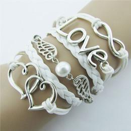 Deux cœurs Bracelets d'amour Bracelets colline IPC mode Bricolage Style Cuir Cute Infinity Charm Bracelet Argent shopping à partir de boutiques de charme fabricateur