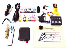 2015 Beginner tattoo guns kits complete one tattoo machine gun mini black power supply 14color inks grip needles pedal