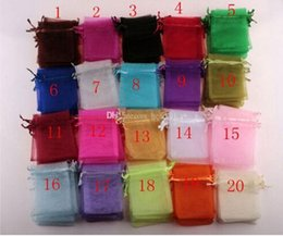 Wholesale MIC white Royal blue pink Etc color Organza Gift Bags x9cm With Drawstring