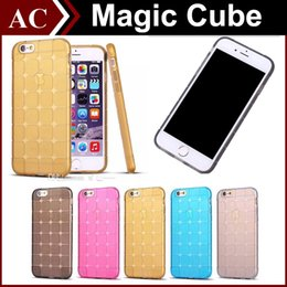 Wholesale Magic Cubee Shape Protective Cube Grid Series Soft Gel TPU Transparent Case For iPhone S S Plus Shockproof Clear Back Cover DHL