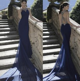 Wholesale 2016 Tarik Ediz Evening Dresses Formal Long Royal Blue Beading Prom Gowns With Sheath Body Crew Neck Hollow Back Sweep Train Party Show