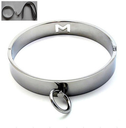 Wholesale Steel Ring Collar Bdsm - BDSM Sex Toys High Quality Stainless Steel Metal Female Neck Collar Sex Slave Role Play Necklace For Women Fetish Restraint Bondage Ring