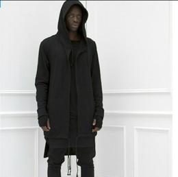 hot hip hop extended hood Hoodies Sweatshirts casual lengthen Jacket Sweater Coat 2 Black White F187