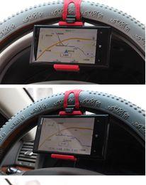 Volant pour les vélos en Ligne-Support de téléphone de volant de voiture Support de téléphone de bicyclette de Cradel Support de GPS Support de caoutchouc Smart Clip pour Iphone Samsung Ipod GPS