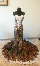 Mermaid Camo Wedding Dresses With Lace Strapless Sexy Camo Bridal Dress Custom Made Floor Length Long Wedding Dress Spring Style