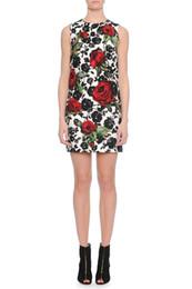 Rose Flower Print Women Sheath Dress Sleeveless Jacquard Dresses 011819