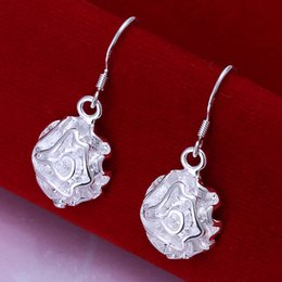 Brand new sterling silver plated Rose earrings DFMSE066,women's 925 silver Dangle Chandelier earrings 10 pairs a lot