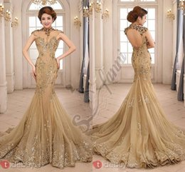 Vintage Sheer Neck Mermaid Evening Dresses 2018 Cap Sleeves Lace Appliques Lace Formal Evening Gowns Fashionable Party dresses