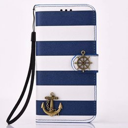 Striped Design Pirate Card Slot Stand PU Leather Flip Protective Case with Anchor Helm for Samsung Galaxy S7 S7 edge