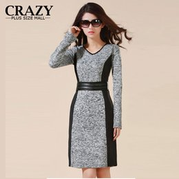 Wholesale Cheap Womens Winter Clothing - 2015 L - 5XL Plus Size Womens Clothing Spring Cheap High Quality OL Business Warm Dress Slim Classic Winter Dresses
