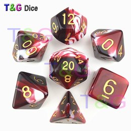 New Transparent Red & White Color Dice D4-D20 For Dungeons And Dragons Game