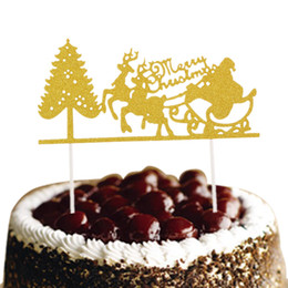 Christmas Cake Flags Santa Claus Elk Merry Christmas Cake Topper Glittler Christmas Tree Party Cake Baking Decor Xmas supplies