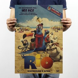 Wholesale Rio Classic Animation Adventure Wall Poster Vintage Retro Kraft Paper Poster for Kids Room Home Decor x35 cm