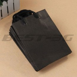 Wholesale-10 x Black Rectangle Kraft Paper Carrier Gift Present Packing Shopping Bag HOT
