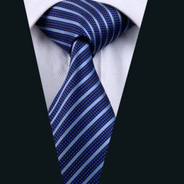 Blue Stripe Necktie for Men Silk Jacquard Woven Casual Business Party Work Formal Meeting Tie D-0337