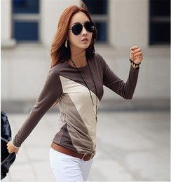 Direct Selling Women tops 2015 Autumn Spring Women Long Sleeve Patchwork Striped t-shirt Casual Shirt Blusas Tops Camisa #020