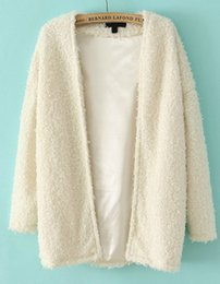 Wholesale 2014 Spring Fall New Hot Sale Design Women s Clothing Brand Name Knitwear Fashion White Long Sleeve Loose Faux Fur Cardigan Coat