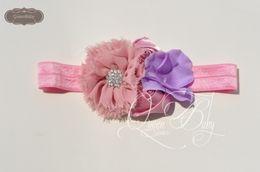 Baby Headband Matching Chiffon Flower With Sparking Rhinestone Headband Satin Flower Headband Luxe Headband Vintage Headband 120pcs lot