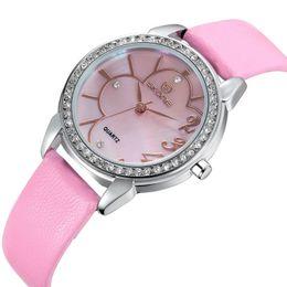 Hot Sale! SKONE Luxury Women Genuine Leather Strap Watches With Rhinestone Women Dress Wristwatches Japan Quartz