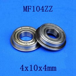 Wholesale 100pcs MF104ZZ mm flanged bearing x10x4 mm MF104 miniature shielded flange deep groove ball bearings