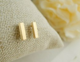 Wholesale 10pcs Gold silver and pink classicalslim bar Stud Earrings for women ED031