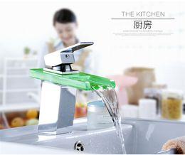 Wholesale LED Faucet Sensor automatic Color Change LED Faucet Lights Faucet WaterFall Kitchen Counter Chrome Mixer Brass Tap