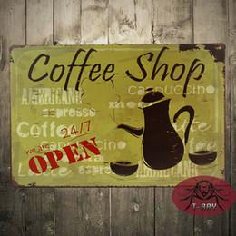 Wholesale TIN SIGN quot Coffee Shop Open quot Metal Wall Art Store Farm Shop Kitchen Cave
