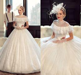 Custom Actual Luxury Designer Train Lace Amazing A line Applique Princess Wedding Bridal Dresses Dress Gown Jewel Neck Off Shoulder Elegant