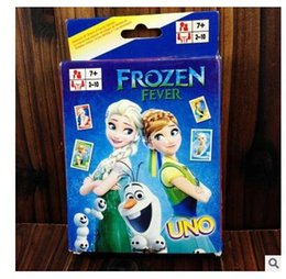 Wholesale New Frozen UNO Poker Card Elsa Anna Family Fun Entermainment Board Game Standard Edition Kids Funny Game Christmas Gifts R1529
