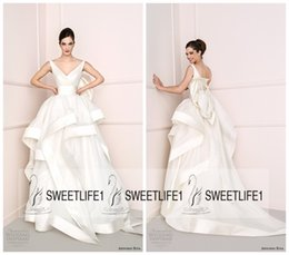 Wholesale Antonio Riva A Line Wedding Dresses with Sexy V Neck Open Back Bridal Gowns with Elegant Court Train High Quality Cheap Dresses