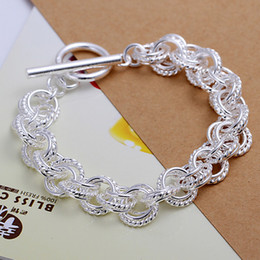 Hot sale best gift 925 silver three times TO bracelet DFMCH023,Brand new fashion 925 sterling silver plate Chain link bracelets high grade