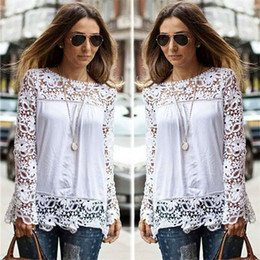 Wholesale Spring Autumn Women s White Blouses Cotton Blend Designer Ladies Shirts Long Sleeve Hollow Floral Vintage Women s Clothing for AB024