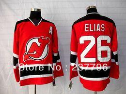 2017 maillots de sport Patrik Elias Jersey # 26 New Jersey Devils Maillots Hockey sur glace Hommes Hommes Red Away White Pour les fans de sport Tous couture promotion maillots de sport