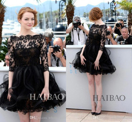 Emma Stone 2017 Cannes Film Festival Red Carpet Celebrity Dress Bateau Neck Sheer Half Sleeves Short Little Black Lace Cocktail Dresses
