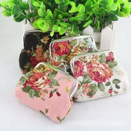 Wholesale Baby Girls Floral Handbag Vintage Printed mini purse children s accessories Flower buckle coin bag fashion floral wallet BJ052