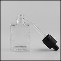 wholesale 15ml 30ml flat square Glass dropper Bottles e Liquid glass Dropper Bottles Clear Glass Essential Oil bottles Best Selling