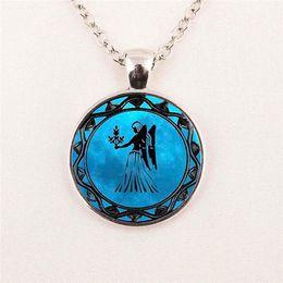 12 constellations zodiac Leo symbol pisces blue pisces Libra astrology Sagittarius horoscope cartoon Pendant glass gemstone necklace 84