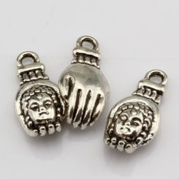 Wholesale Hot Antique Silver Alloy hand Buddha head Charm Pendant x18mm DIY Jewelry