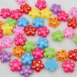 Wholesale Sun Flower Cabochons - 250pcs kawaii Resin Lovely cabochons polka dots little sun flower pendants charm ,hair bow center diy 17mm