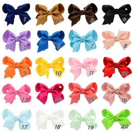 3.5 Inch Baby Ribbon Bows With Clip Grosgrain Gairclips Hairclips Girls Barrettes children Hair Accessorie Wholesale - 0015HW