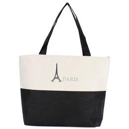 Wholesale-Women Canvas Handbag Large Space Zipper Shopping Travel Shoulder Bag Paris Eiffel Tower Pattern Girls Beach Bookbag Casual Tote