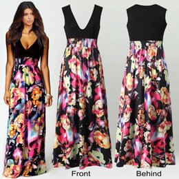 2015 Summer Deep V long dress floower print lady causual dresses sleeveless pretty beach dresses S377M