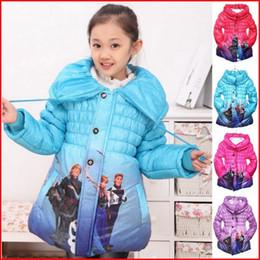 Frozen Winter Coats 5 Colors Girls Frozen Elsa Anna Jackets Kids Long Sleeve Thick Warm Outwear Frozen Cotton-Padded Clothes 60 Pieces FedEx