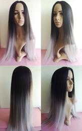 Synthetic Ombre Wig Ombre Tone Color Black Grey Silk Straight Gray wig