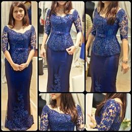 2015 ladies evening dresses vintage maxi 1 2 long sleeve lace satin royal blue women evening party gowns