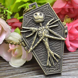 Wholesale New children Pocket Watch Hot The Burton s Nightmare Before Christmas Vintage Antique Pendant Necklace Quartz Watch B001
