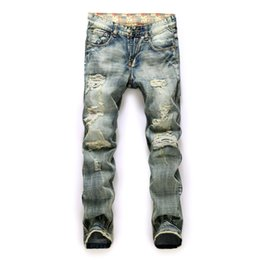 Wholesale- New Fashion Men`s Distressed Jeans With Holes Acid Washed Vintage Casual Denim Pants Ripped Jeans For Men Q1210