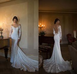 Hot Sale Winter Long Sleeve Wedding Dresses Backless Off Shoulder Pearls Lace Mermaid Vintage Design Bridal Gowns Custom Made W972