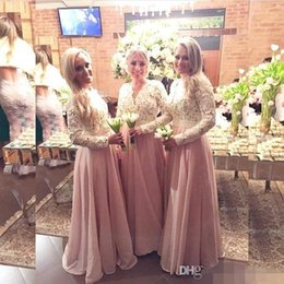 2016 Muslim Islamic Lace Long Prom dresses V Neck Chiffon Floor Length Chiffon Long Sleeves Evening Dresses Custom Made Party Gowns