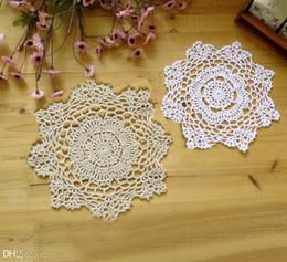 Wholesale-2015 New Cotton Crochet doily flowers Woven decorative Pad Doilies Round tablecloth mat Placemats Cover cloth 10pcs   lot